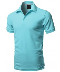 Men's Solid Short Sleeves Basic Premium Quality Side Slit Polo Shirt