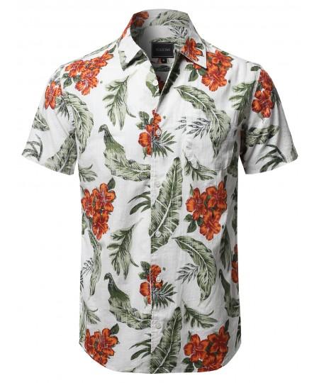 Men's Casual Hawaiian Short Sleeve Floral Print Shirts