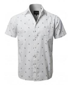 Men's Casual Hawaiian Short Sleeve Palm Tree print Shirts