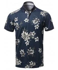 Men's Casual Floral Print Short Sleeve Polo Top