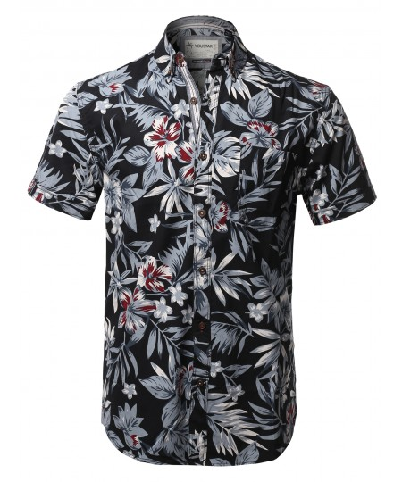 Men's Casual Tropical Beach Floral Print Hawaiian Shirts
