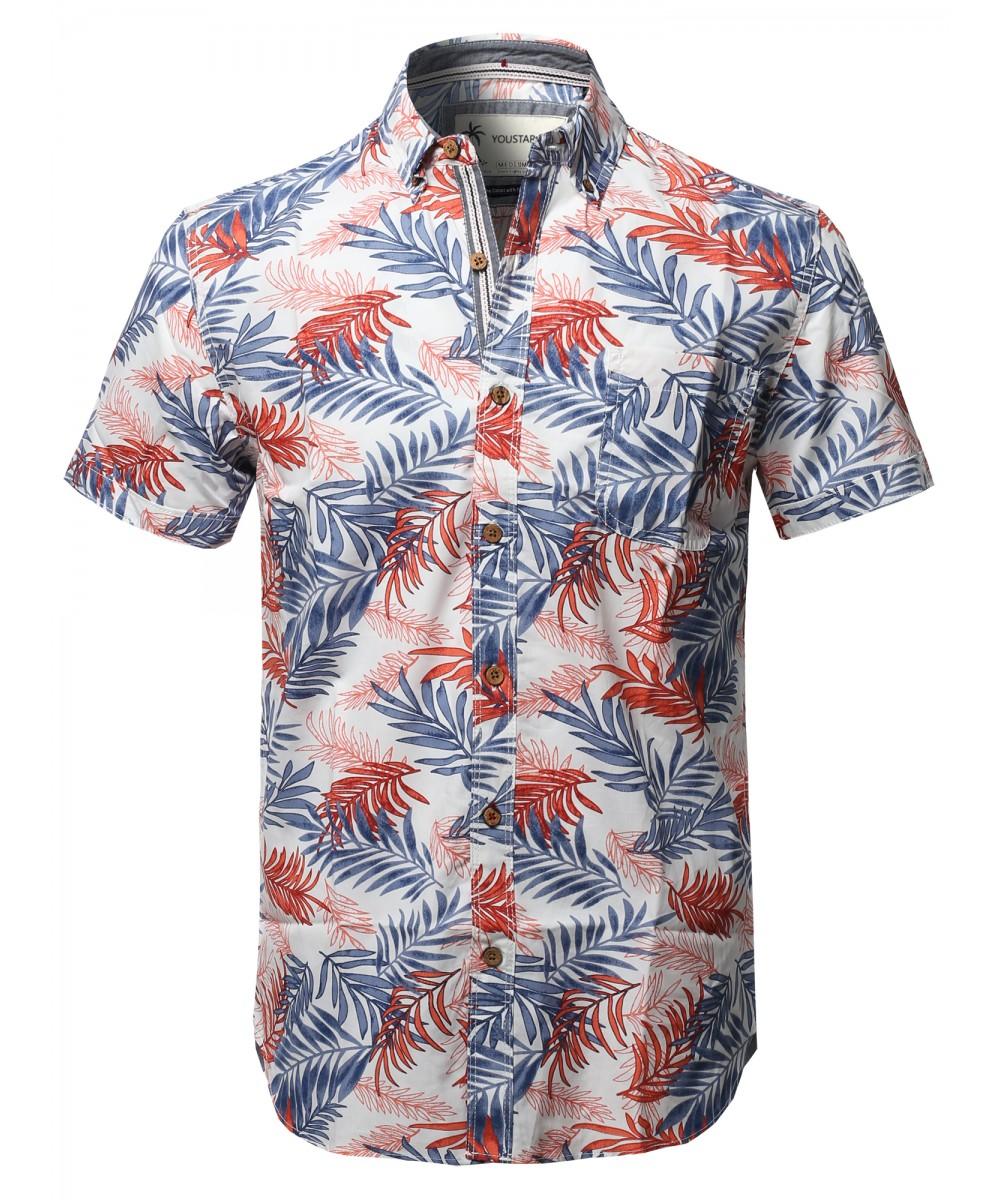 45549136e91673 Men's Casual Tropical Beach Floral Print Hawaiian Shirts ...