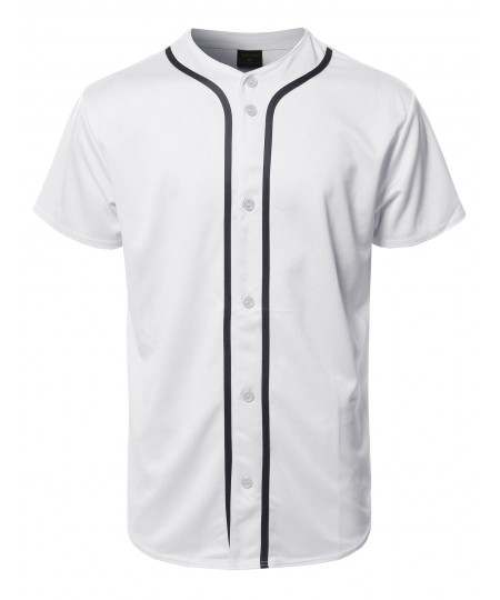 Men's Solid Front Button Closure Athletic Baseball Inspired Jersey Top