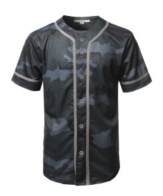 Men's Camouflage Front Button Closure Athletic Baseball Inspired Jersey Top