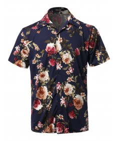 Men's Casual Printed Hawaiian Style Short Sleeves Shirt