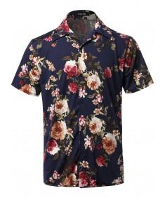 Men's Casual Printed Hawaiian Style Short Sleeves Shirt