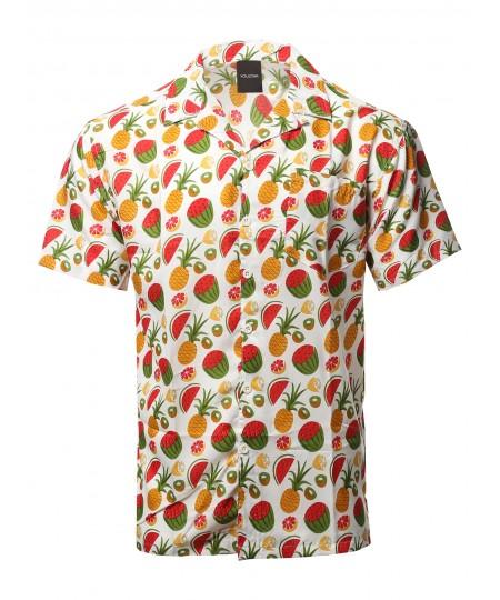 Men's Casual Beach Hawaiian Tropical Print Button Down Shirt