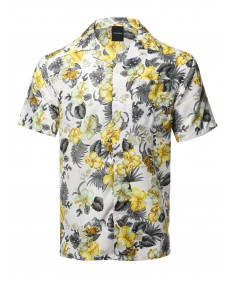 Men's Casual Beach Hawaiian Tropical Print Button Down Shirt