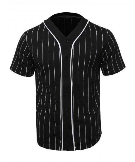 Men's Solid Hipster Baseball Team Pin Stripe Jersey Top