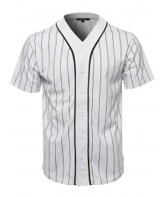 Men's Solid Hipster Baseball Team Pin Stripe Jersey Top