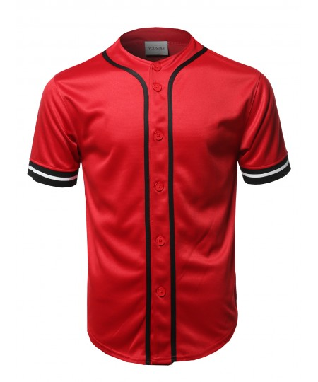 Men's Casual Hipster Short Sleeves Baseball Inspired Jersey Top