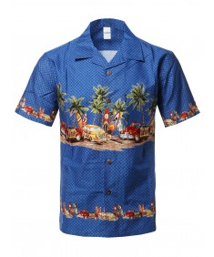 Men's Casual Beach Hawaiian Tropical Print Button Down Cotton Shirt