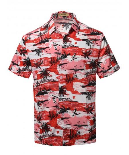 Men's Casual Hawaiian Short Sleeve Button Down Shirts