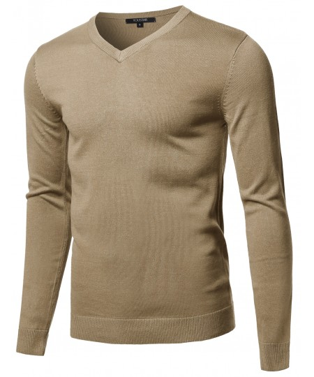 Men's Casual Solid Soft Knitted Long Sleeve V-neck Sweater