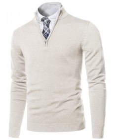 Men's Classic Half Zip Up Mock Neck Basic Sweater Top