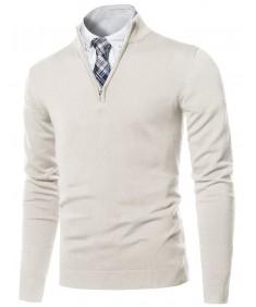 Men's Classic Half Zip Up Mock Neck Basic Sweater Top