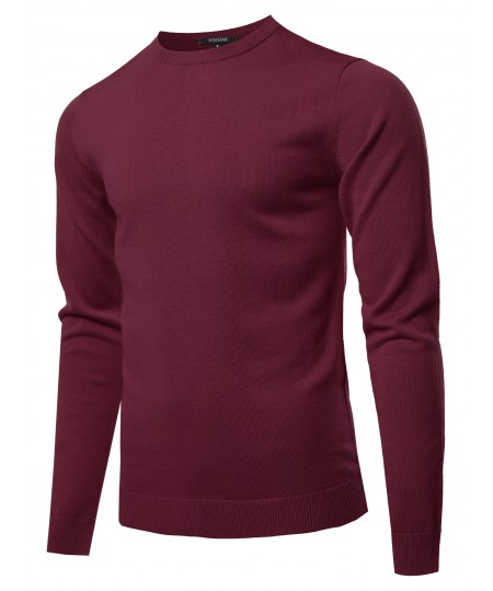 Men's Solid Long Sleeve Crew Neck Pullover Knit Sweater