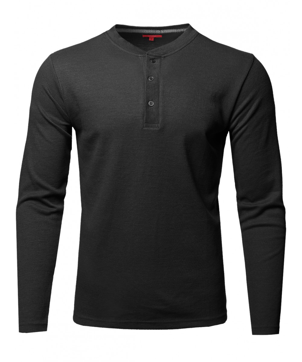 Men 39 s premium quality thermal henley crew neck long sleeve for Good quality long sleeve t shirts