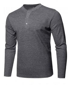 Men's Premium Quality Thermal Henley Crew Neck Long Sleeve T-Shirt