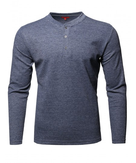 Men's Premium Quality Thermal Henley Crew Neck Long Sleeve T-Shirt