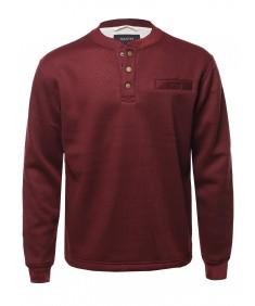 Men's Casual Sherpa Lining Thermal Henley Long Sleeve T-Shirt