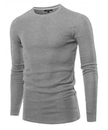 Men's Solid Thermal Long Sleeve Crew Neck Top