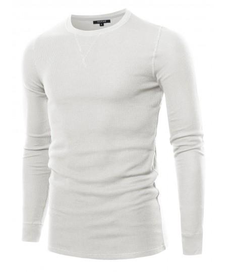 Men's Solid Thermal Long Sleeve Crew Neck Top
