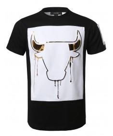 Men's Music Concert Hip-Hop Hipster 3D Gold Foil Print Tee Shirt Top