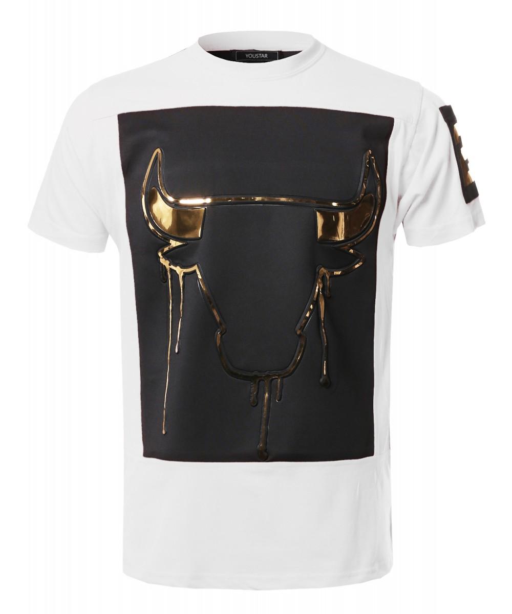 Mens Music Concert Hip Hop Hipster 3d Gold Foil Print Tee Shirt Top