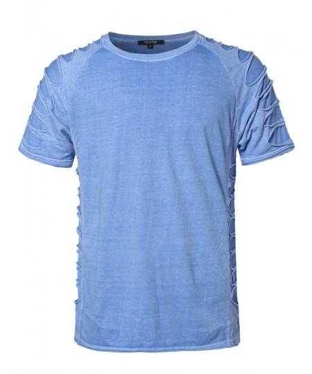 Men's Casual Hipster Solid Short Sleeve Distressed Zipper Tee Shirt