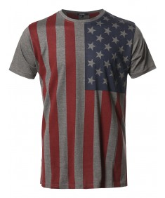 Men's American Flag Patriotic Short Sleeves Top