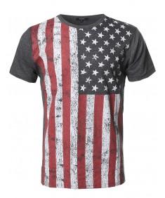 Men's American Flag Patriotic Short Sleeves Top