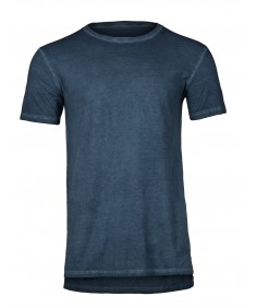 Men's Casual Pigment Wash Longline Stem Hem Short Sleeves T-Shirt