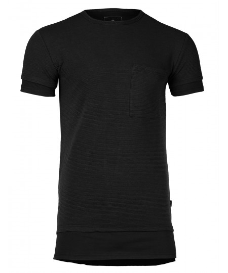 Men's Solid Relaxed Fit Longline Ribbed Short Sleeve Crewneck T-shirt Top