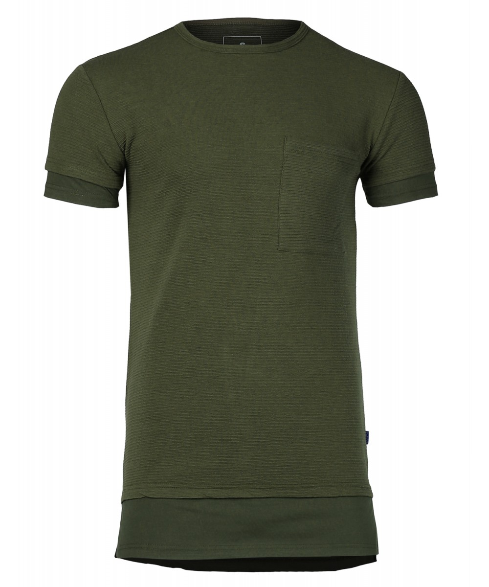 Men 39 s solid relaxed fit longline ribbed short sleeve for Relaxed fit t shirt