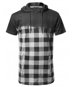Men's Urban Style Long Line Short Sleeve Check Printed Hoodie Top