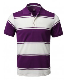 Men's Basic Casual Short Sleeves Stripe 3 Button Placket Polo Shirt