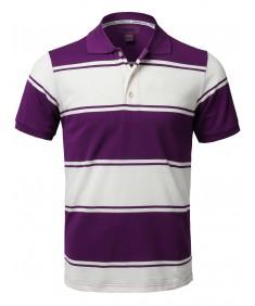 Men's Basic Casual Short Sleeves Stripe 3 Button Placket Polo Shirt