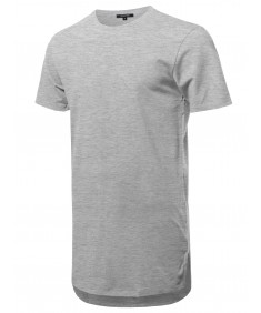 Men's Solid Short Sleeves Basic Long-Line Side Slit T-Shirt