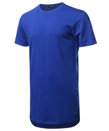 Men's Solid Short Sleeves Basic Long-Line Side Slit T-Shirt