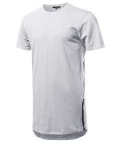 Men's Solid Short Sleeves Basic Long-Line Side Zipper T-Shirt