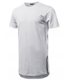 Men's Solid Short Sleeves Basic Long-Line Side Zipper T-Shirt