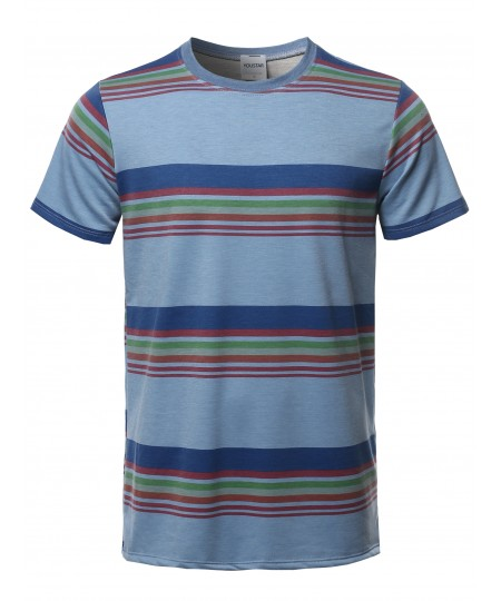Men's Stripe Pattern French Terry Short Sleeves Top