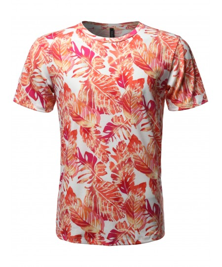 Men's Sublimation Print Short Sleeves Crew Neck Tee