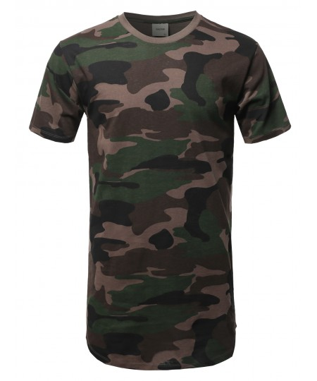 Men's Solid Urban Style Long-Line Short Sleeves Round Hem T-Shirt