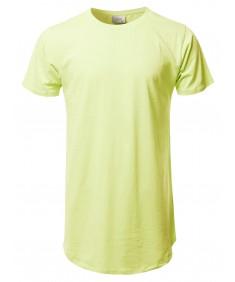 Men's Solid Urban Style Long-Line Short Sleeves Round Hem T-Shirt