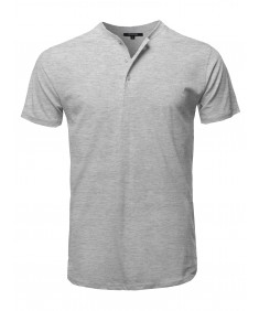 Men's Basic Short Sleeve Cotton Henley Neck Basic Tee