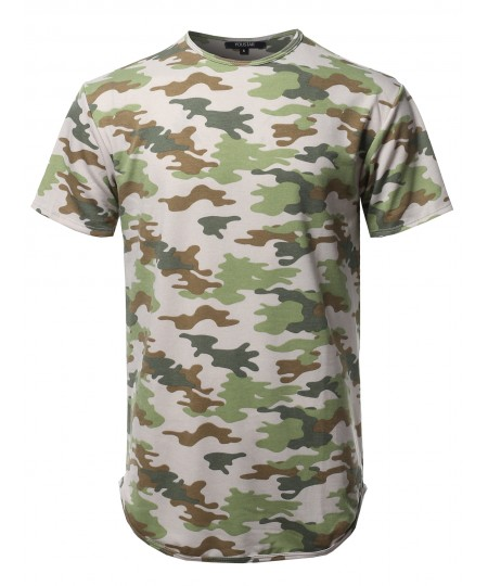 Men's Casual Crew Neck Camouflage Scallop Hem Tee - Made In USA