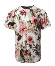 Men's Floral Crew Neck Scallop Hem Tee - Made In USA