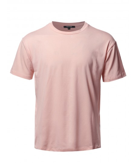 Men's Solid Viscose Crew Neck Loose Fit Tee - Made In USA